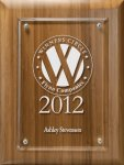 Lasered Lucite on Bamboo Board Acrylic Plaques