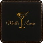 Black Square Leatherette Coaster Boss Gift Awards