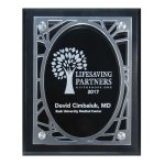 Frosted Acrylic Decorative Edge Cutout on Black Plaque Employee Awards
