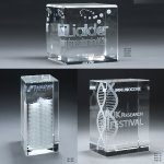 3D Etched Crystal Tower Employee Awards