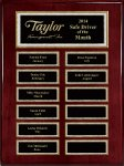Rosewood Piano Finish 12-Plt Pearl Border Plaque Monthly Perpetual Plaques