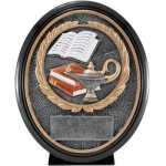 Lamp Of Knowledge Res. Ova Oval Resin Trophy Awards