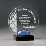 Circle Lucite with Blue Glass Gemstone and Marble Base Sales Awards